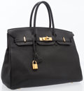 Luxury Accessories:Bags, Hermes 35cm Black Togo Leather Birkin Bag with Gold Hardware. ...