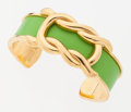 Luxury Accessories:Accessories, Hermes Vert Anis Gulliver Leather & Gold Cuff. ...