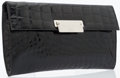 Luxury Accessories:Bags, Prada Black Alligator Clutch with Brushed Silver Hardware. ...