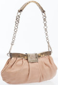 Luxury Accessories:Bags, Prada Peach Leather Handle Bag with Lizard & Silver Hardware....