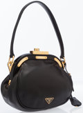 Luxury Accessories:Bags, Prada Black Leather Frame Bag with Gold Hardware. ...