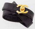 Luxury Accessories:Accessories, Chanel Black Lambskin Leather Belt with Gold Hardware . ...