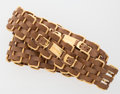 Luxury Accessories:Accessories, Chanel Brown Leather and Gold Chain Link Belt. ...