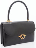 Luxury Accessories:Bags, Hermes Black Calf Box Leather Sac Cordelier Bag with Gold Hardware....