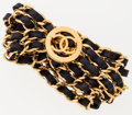 Luxury Accessories:Accessories, Chanel Black & Gold Chain-Link Belt with Logo Clasp. ...