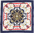 "Luxury Accessories:Accessories, Hermes Navy & White ""Eperon d'Or,"" by Henry d'Origny SilkScarf. ..."