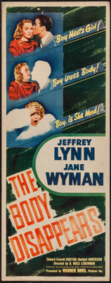 "The Body Disappears (Warner Brothers, 1941). Insert (14"" X 36""). Comedy"