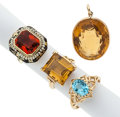 Estate Jewelry:Rings, Lot of Multi-Stone, Gold Jewelry. ... (Total: 4 Items)