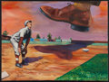Baseball Collectibles:Others, Early 20th Century Baseball Player Painting. ...