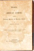 Books:Art & Architecture, (Various Authors). Homes of American Authors. New York: D. Appleton, 1860. Contemporary full morocco ruled in black....