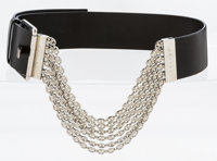 Celine Black Leather & Silver Logo Chain Belt