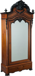 Furniture : French, A NAPOLEON III CARVED WALNUT BONNETIÈRE, 19th century. 100 x 45-1/2x 20 inches (254 x 115.6 x 50.8 cm). ...