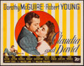 "Movie Posters:Comedy, Claudia and David (20th Century Fox, 1946). Trimmed Half Sheet(21.5"" X 27.5""). Comedy.. ..."