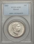 Coins of Hawaii: , 1883 50C Hawaii Half Dollar AU55 PCGS. PCGS Population (63/279).NGC Census: (54/226). Mintage: 700,000. ...