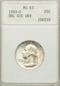 1943-S 25C Doubled Die Obverse MS63 ANACS. NGC Census: (10/44). PCGS Population (22/72)....(PCGS# 5823)