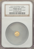 California Gold Charms, 1915 California Minerva Round 1/4, Eureka, Bear, NGC MS63. Hart's Coins of the West....