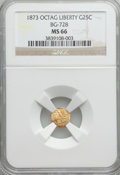 California Fractional Gold: , 1873 25C Liberty Octagonal 25 Cents, BG-728, R.3, MS66 NGC. NGCCensus: (10/4). PCGS Population (23/3). ...