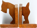 "Books:Furniture & Accessories, [Bookends]. Pair of Solid Wood Scottie Dog Bookends. No makerindicated. Each measures about 5"" x 4"" x 6.5"". Felt bottoms. S...(Total: 2 Items)"