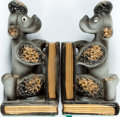 """Books:Furniture & Accessories, [Bookends]. Pair of Hollow Ceramic Curious Poodle Bookends.Japanese. No maker indicated. Each measures about 1.75"""" x 3"""" x 6...(Total: 2 Items)"""