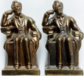 "Books:Furniture & Accessories, [Bookends]. Pair of Abraham Lincoln Bookends. Hollow metal withgold finish. No maker indicated. Each measures about 3.25"" x...(Total: 2 Items)"