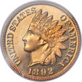 Proof Indian Cents, 1892 1C PR65 Red PCGS. CAC....