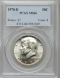 Kennedy Half Dollars: , 1970-D 50C MS66 PCGS. PCGS Population (429/12). NGC Census:(119/5). Mintage: 2,150,000. Numismedia Wsl. Price for problem ...