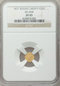 California Fractional Gold: , 1871 25C Liberty Round 25 Cents, BG-838, R.2, XF45 NGC. NGC Census:(2/84). PCGS Population (4/436). ...