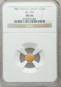 California Fractional Gold: , 1867 25C Liberty Octagonal 25 Cents, BG-709, R.4, MS66 NGC. NGCCensus: (4/4). PCGS Population (9/1). ...