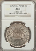 Mexico, Mexico: Republic 8 Reales 1894 Ca-MM MS63 NGC,...