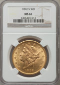 Liberty Double Eagles: , 1892-S $20 MS61 NGC. NGC Census: (1662/1896). PCGS Population (785/1983). Mintage: 930,150. Numismedia Wsl. Price for probl...
