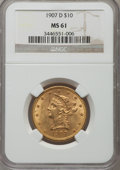 Liberty Eagles: , 1907-D $10 MS61 NGC. NGC Census: (137/315). PCGS Population (113/374). Mintage: 1,030,000. Numismedia Wsl. Price for proble...