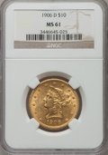 Liberty Eagles: , 1906-D $10 MS61 NGC. NGC Census: (1126/2077). PCGS Population (543/1778). Mintage: 981,000. Numismedia Wsl. Price for probl...