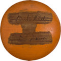 Autographs:Baseballs, 1932 Babe Ruth & Lou Gehrig Dual-Signed Wooden Orange withOriginal Snapshots....