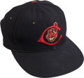 Baseball Collectibles:Hats, 1954 Bob Feller Game Worn Cleveland Indians Cap, MEARS Authentic....