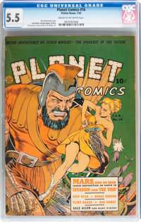 Planet Comics #16 (Fiction House, 1942) CGC FN- 5.5 Cream to off-white pages