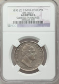 India:British India, India: British India. William IV Rupee 1835. (c) AU Details (Surface Hairlines) NGC,...