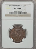 British Honduras, British Honduras: George V Cent 1919 MS64 Brown NGC,...