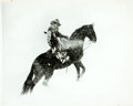 "Books:Prints & Leaves, Erwin Evans Smith. Photograph of a Cowboy. Matted to backing for anoverall size of 18"" x 14"". Fine. . ..."