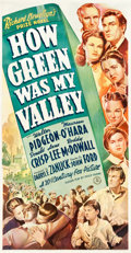 "Movie Posters:Drama, How Green Was My Valley (20th Century Fox, 1941). Three Sheet(42.25"" X 78.5"").. ..."