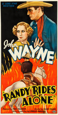 "Movie Posters:Western, Randy Rides Alone (Monogram, 1934). Three Sheet (40"" X 77.5"").. ..."