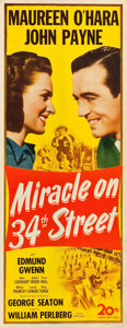 "Movie Posters:Comedy, Miracle on 34th Street (20th Century Fox, 1947). Insert (14"" X36"").. ..."