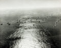 "Books:Prints & Leaves, [WWII]. Oversize Photograph of a Naval Convoy on Its Way toCasablanca, Morocco. 1943. Measures 11"" x 14"". Ink stamps and no..."