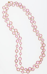 Chanel Pink Crystal & Gold Sautoir Necklace