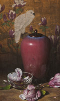 Fine Art - Painting, American:Contemporary   (1950 to present)  , FREDERIK EBBESEN GRUE (American, 1951-1995). Red Jar, 1982.Oil on masonite. 20 x 12 inches (50.8 x 30.5 cm). Signed and...