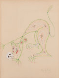 Fine Art - Work on Paper:Drawing, JEAN COCTEAU (French, 1889-1963). Cat Lady with Skull, 1957.Crayon on paper. 25 x 19 inches (63.5 x 48.3 cm). Signed an...