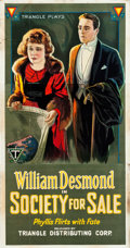 "Movie Posters:Drama, Society for Sale (Triangle, 1918). Three Sheet (42"" X 82"").. ..."