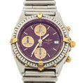 "Timepieces:Wristwatch, Breitling ""Callisto"" 81.950 B13047 Steel & Gold ChronographWith Rare Burgundy Dial & ""Bullet"" Link Bracelet. ..."
