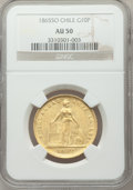 Chile, Chile: Republic gold 10 Pesos 1865-So AU50 NGC,...