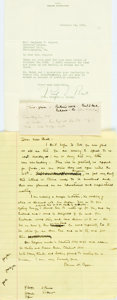 "Autographs:Authors, Pearl S. Buck (1892-1973, American author) Typed Letter Signed. November 14, 1941. Stationery. Measures 7.25"" x 10.5"". Two h..."