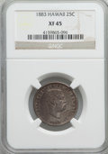 Coins of Hawaii: , 1883 25C Hawaii Quarter XF45 NGC. NGC Census: (40/1119). PCGSPopulation (108/1551). Mintage: 500,000. ...